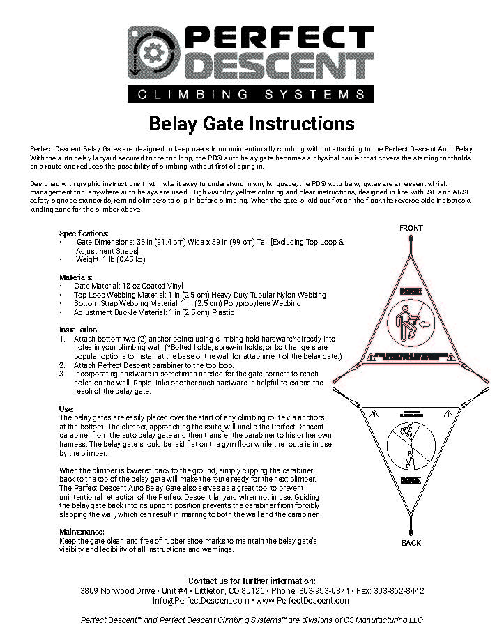 a0394b59d036 Perfect Descent Auto Belay Gate Manual – English