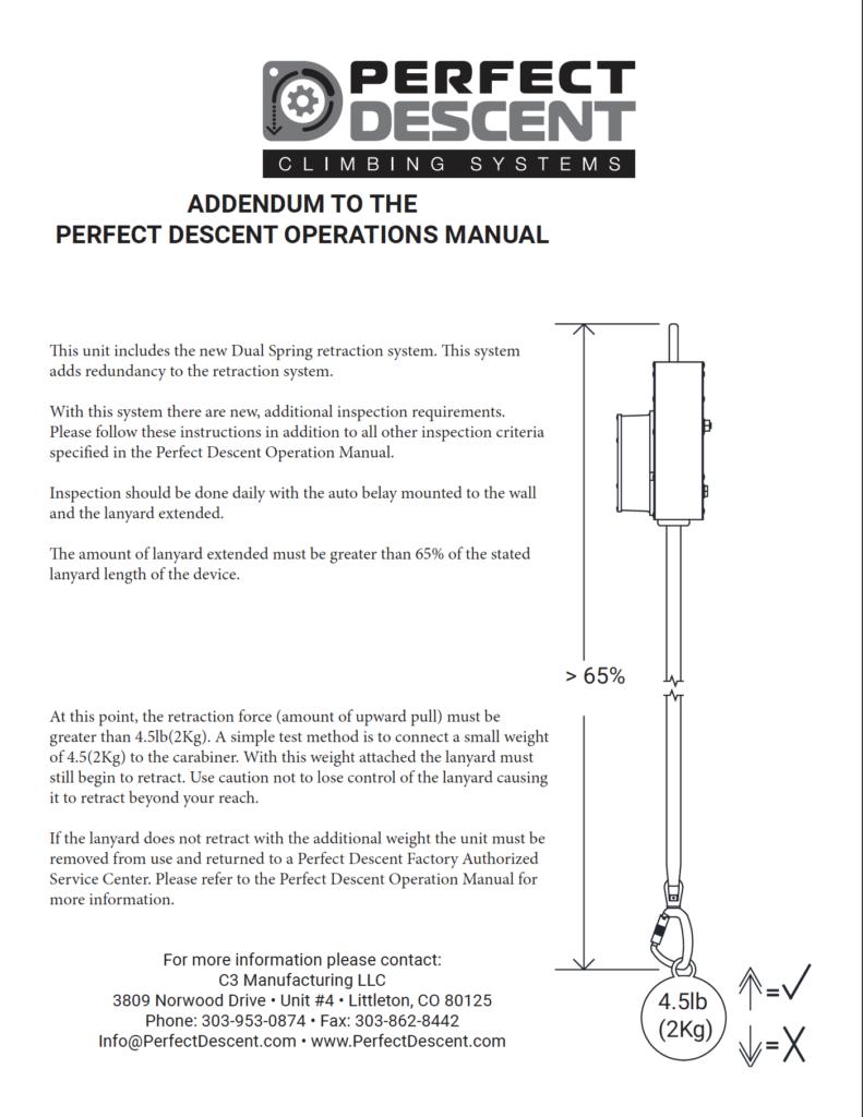 Perfect Descent Twin Spring Inspection Addendum