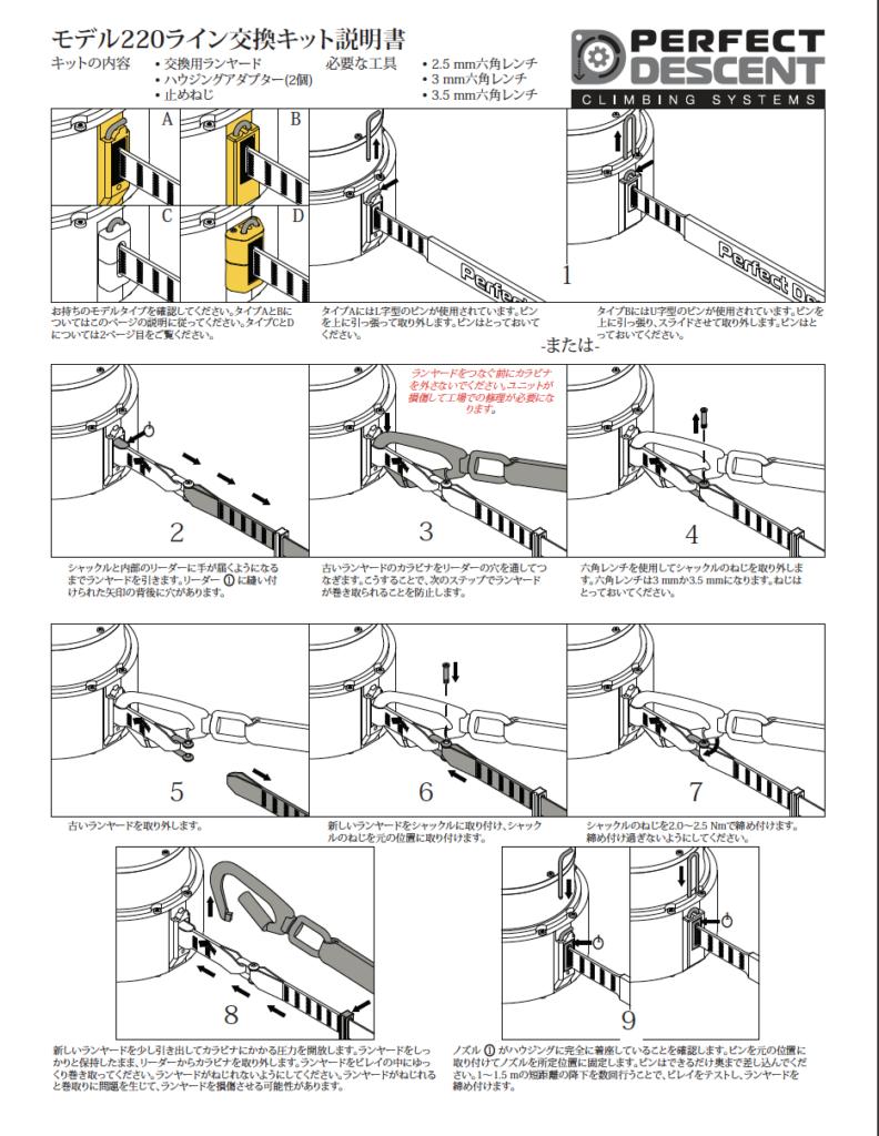 Auto Belay Replacement Lanyard Manual - Japanese