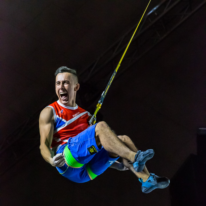 speed climber celebrating after a win during the 2018 world climbing championships