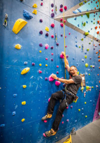 Owner of Bliss Climbing Gym at the CWA After-Party hosted by Perfect Descent Climbing Systems