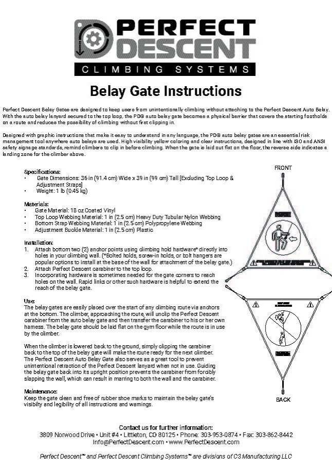 EN Perfect Descent Auto Belay Gate User Manual Rev 03-2019 Cover