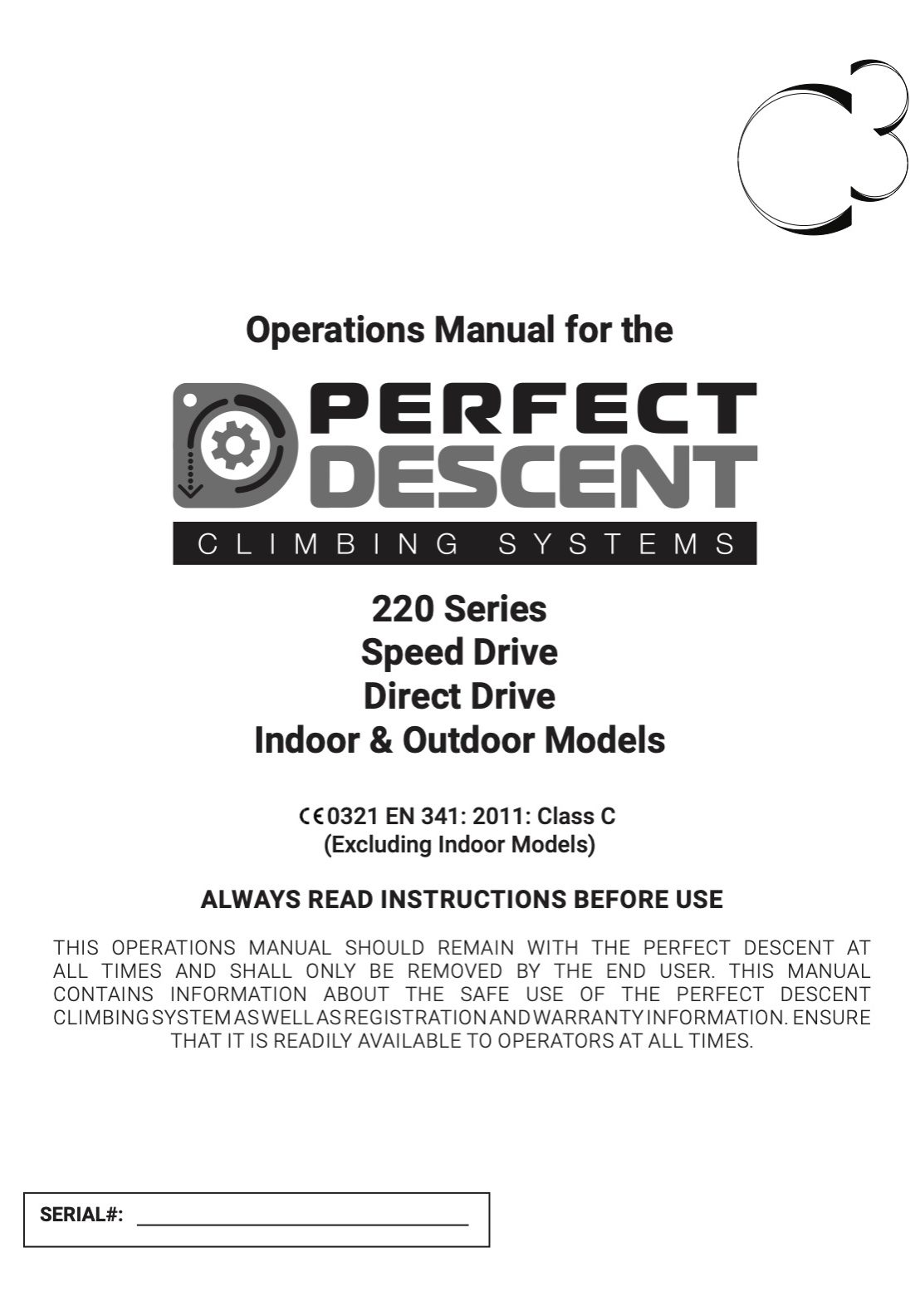 Cover page of the Perfect Descent 220 Series Auto Belay Operations Manual