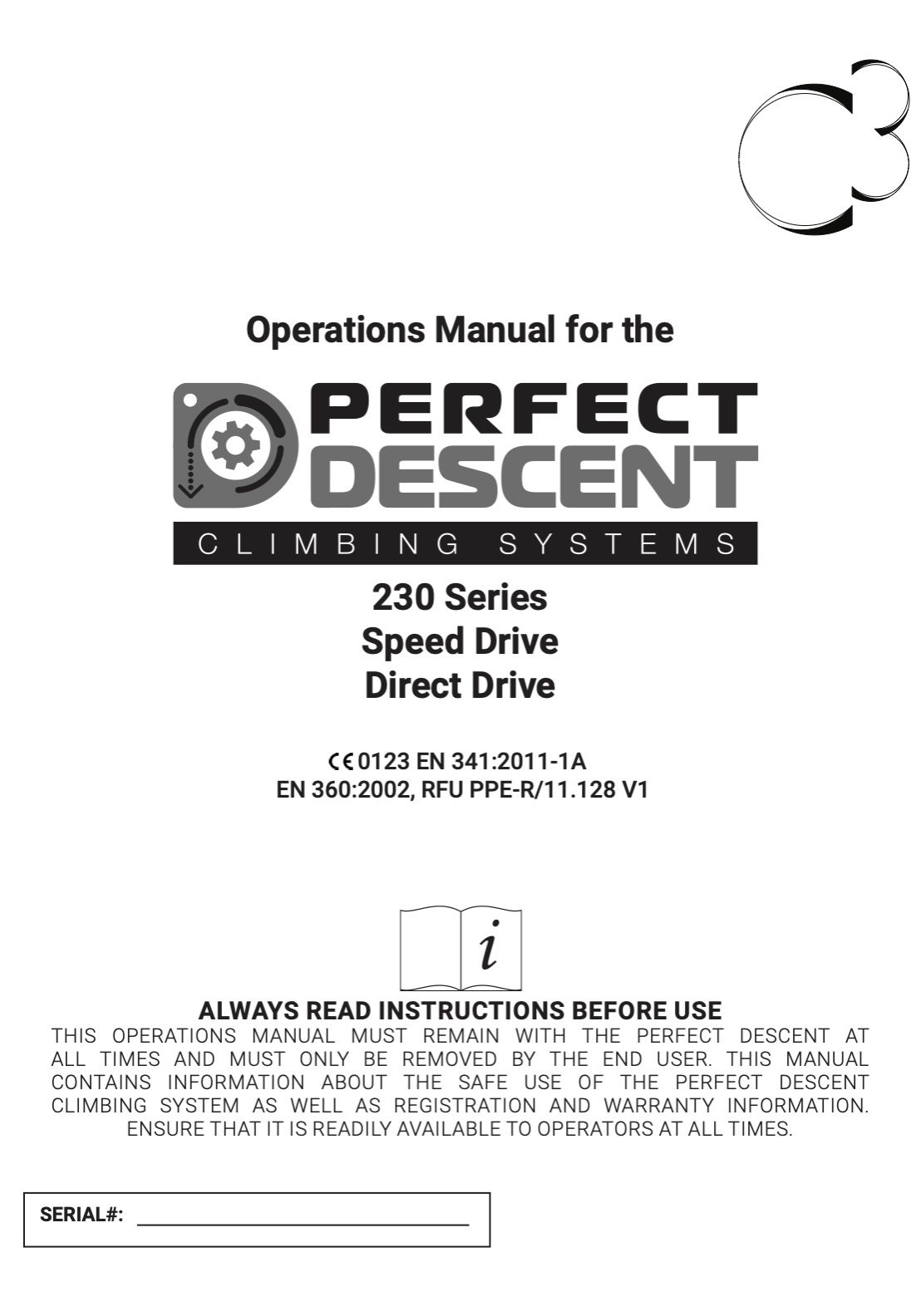 Cover page of the Perfect DEscent 230 Series Auto Belay Operations Manual